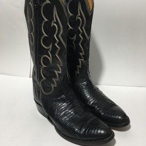 Tony Lama Lizard Boots 8 D Style 8022 Black